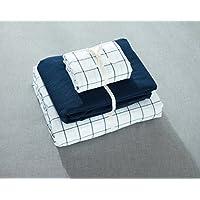 Jeanpop简璞 日式良品寝具 色织水洗棉床笠款四件套 四季格系列 舒适柔软 1.5米床适用(晚秋格)