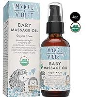 Mykel + Violet - 100% 美国农业部认证*婴儿按摩油,舒缓混合,滋润新生儿娇嫩肌肤,富含鳄梨油、薰衣草油和其他*精油