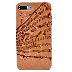 iPhone 7 Plus 木质手机壳手工雕刻实木手机壳带软质 TPU 背面适用于 Apple iPhone 7 Plus 音乐笔记