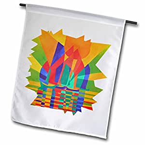 taiche 丙烯酸艺术–船当代抽象–旗帜 12 x 18 inch Garden Flag