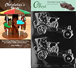 Cybrtrayd Bk-D013 Antique Cars Dads and Moms Chocolate Candy Mold with Chocolatier's Guide Instructions Book Manual