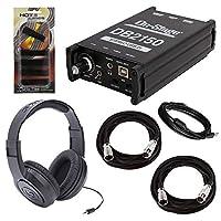 On-Stage DB2150 立体声 USB DI 盒子 + Samson SR350 头戴式立体声耳机 + 2 个舞台麦克风电缆 + 连接线