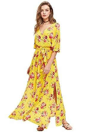 Milumia 女式波西米亚分叉束腰复古印花长裙 M 码黄色红色