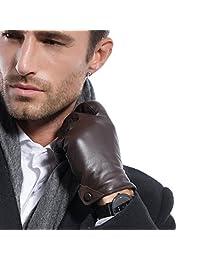 男式 Nappa 皮革触摸屏纹理冬季保暖驾驶皮革手套纽扣 Ku011(羊绒/长款羊毛衬里)