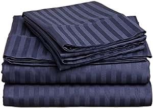 "Waletone Linen 4 件套床单套装 400 支 * 埃及长绒棉超柔软长纤维,意大利表面床笠适合 38.10 cm 袋深的床垫 *蓝条纹 30""X75"" Size ABHI-WTL0001-0247"