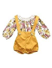 女婴婴儿装花卉背带裤套装长袖连身衣 + 短裤
