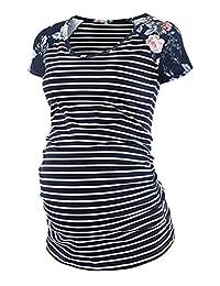 女式经典棒球圆领插肩短袖侧褶孕妇上衣束腰 T 恤孕妇装