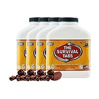 生存标签 - 60天生存食物供应 - 不含麸质和非转* 25 年保质期(4 x 180 片/瓶 - 巧克力色)