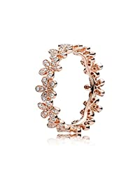 PANDORA 炫目的雏菊戒指,PANDORA 玫瑰和透明方晶锆石 180934CZ-54 欧洲 7 美国