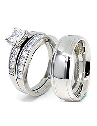 Lanyjewelry His and Hers 情侣戒指套装 女式 公主 CZ 婚戒套装 男式圆顶槽边戒指
