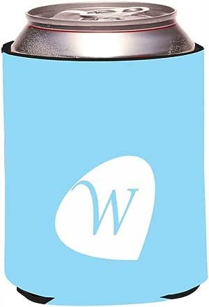"""Rikki Knight RKws-KOOZIE-43705 """"Letter W Monogram Initials Pastel Blue Color Petal Leaves Spring Summer Design"""" Beer Can/Soda Drink Cooler Koozie"""