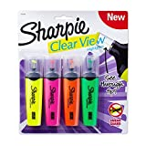 Sharpie Clear View Highlighter, Chisel Tip, 4-Pack, Assorted Colors