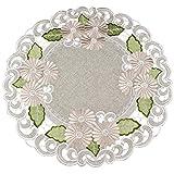 亚麻布,Art and Things 刺绣金色雏菊花拉特桌布,小桌布,Doily 55.88 厘米圆形