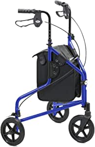 Days Lightweight Aluminium Folding 3 Wheel Tri Walker with Lockable Brakes and Carry Bag, Adjustable Height, Limited Mobility Aid, Blue with Bag & Basket, (Eligible for VAT relief in the UK)