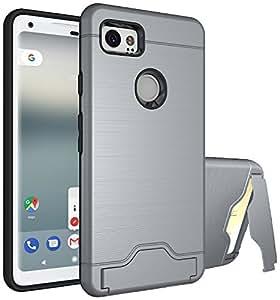 Google Pixel 2XL 手机壳 YABO 卡槽支架防震重型全防护盖与支架双层钱包设计手机壳适用于 Google Pixel 2XL 灰色