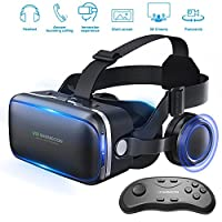 Betolye Vr Headset with Remote Controller, 3d Glasses Virtual Reality Headset for VR Games & 3D Movies, Eye Care System for iPhone and Android Smartphones