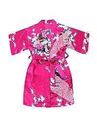 学步女童缎面和服长袍孔雀花朵浴袍编织礼服Spa 婚礼生日 1-12 岁