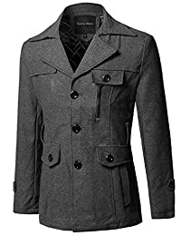 Style by William SBW Men's Classic Outwear Button Down Side Pockets Coat