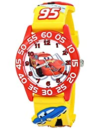 "Disney W001509""Time Teacher""3D 汽車手表黃色塑料表帶"