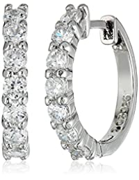 Sterling Silver and Cubic Zirconia Hoop Earrings (0.7 cttw)