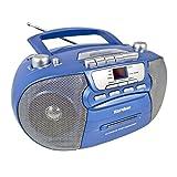 Karcher 凯驰 RR 5040 Oberon 便携式 CD 收音机 (AM / FM 收音机 CD 磁带 AUX 输入 电源/电池供电) Blau-metallic cm