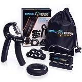 手握增强器锻炼(4 件装) - 可调节阻力手部增强器,手指锻炼器,手指伸缩器,手环 + 便携包 + 电子书,Mandrill 提供 3 年保修