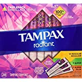 Tampax Radiant Plastic Tampons, Super Plus Absorbency, Unscented, 32 Count