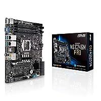 华硕 LGA1151 ECC DDR4 M.2 C246 服务器工作站微 ATX 主板,适用于* 8 代英特尔酷睿主板 WS C246M PRO