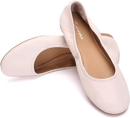 Eureka USA Audrey 女士皮革芭蕾平底鞋 102 Coconnut Milk 6.5