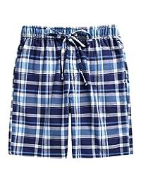 TINFL 13-18 岁 男孩格子图案 柔软 * 纯棉*休闲短裤 睡衣裤