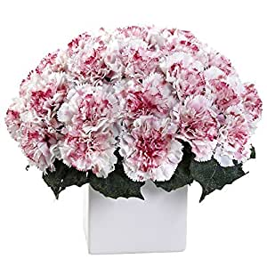 Nearly Natural 1372-WM Carnation Arrangement with Vase, White/Mauve