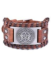 HAQUIL 维京珠宝 Odin 象征生命之树皮革手链 男女通用