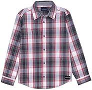 Calvin Klein 男童長袖格子襯衫