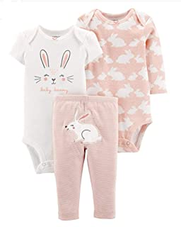 Carter\'s 女婴 3 件套小角色套装 - 兔子设计 | 长袖 | 长裤 | 白色,粉色,24