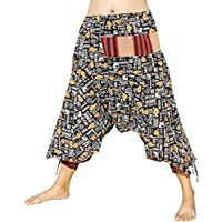 RaanPahMuang 日本正装 Edo Courtesan 裤子带系结袖口和针织补丁