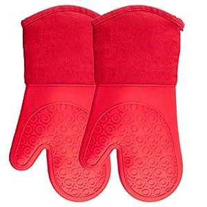 硅胶烤箱手套带绗缝棉内衬 - 专业耐热厨房锅架 - 1 对 红色烤箱手套 Oven Mitts KV-MIYL-ZFRS