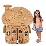 儿童玩具 纸盒玩具 坦克模型 纸壳纸板纸箱DIY手工制作可坐上涂色飞机屋房子 (蘑菇小屋)