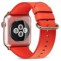 WOOZU沃卒 苹果手表表带 Apple Watch表带 Apple Watch 38/40mm真皮表带赠配透明表壳 iWatch表带 苹果Apple Watch 3/2/1表带 柔软真皮散热透气 (38/40mm, 瓜红)