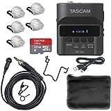 Tascam DR-10L DIgital Field Audio 录像机和薰衣草麦克风套装(5PK)和 32GB Micro SDHC 卡