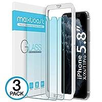 Maxboost(3 件裝)防藍色屏幕保護膜,適用于 Apple iPhone 11 Pro/iPhone Xs/iPhone X(5.8 英寸)[藍色濾光+眼部保護鋼化玻璃]高級高清玻璃工作大多數手機殼