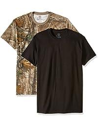 Hanes 男式 2 件装 Fresh IQ Real Tree 舒适柔软圆领 T 恤迷彩和黑色