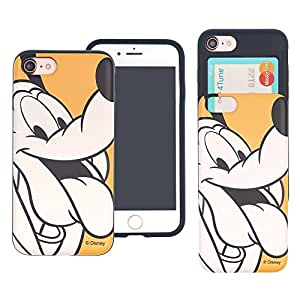iPhone 8 PLUS/iPhone 7 PLUS Case DISNEY Cute Slim Slider Cover : Card Slot Shock Absorption Dual Layer Holder Bumper for [ iPhone8 Plus / iPhone7 Plus ] Case - Line Art Pluto