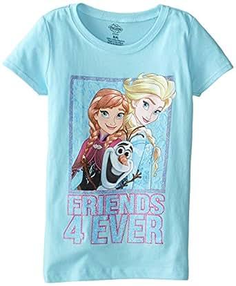 Disney Little Girls' Frozen Friends 4 Ever Short Sleeve Tee, Cancun, 6X