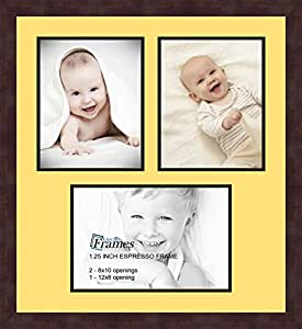 Art to Frames 双-多衬垫-484-47R/89-FRBW26061 拼贴框架照片垫双衬垫带 2 个 - 8x10 和 1 个 - 8x12 开口和咖啡色相框