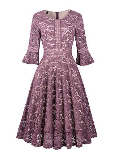 Twinkladyの女性のレトロなフルレースのトランペットの袖の大きなスイングAラインのドレスピンクバイオレット中