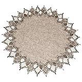 亚麻、艺术和东西蕾丝 门合 60.96 厘米中性地球色调桌垫围巾餐垫 圆桌垫