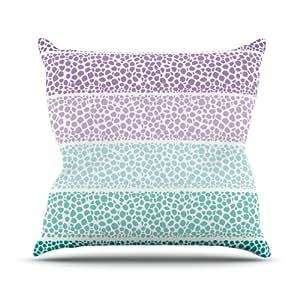 Kess InHouse Pom 图案设计河边鹅卵石室内/室外抱枕 18 x 18 英寸(长x宽) 紫色/青绿色 PG1054AOP03