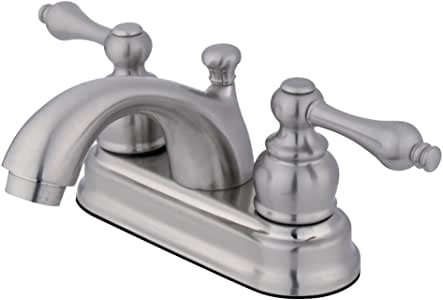 Kingston Brass GKB2608AL Vintage 4-inch Centerset Lavatory Faucet with Retail Pop-up, Satin Nickel