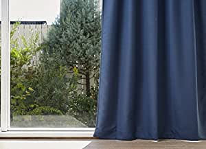 QUARTER REPORT ドレープカーテン グレン ネイビー 2枚組 日本製 蓝色 幅150×丈210cm 2枚入り