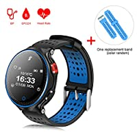 Sports Bracelet,Padgene Bluetooth 4.0 Fitness Activity Tracker IP68 Waterproof Smart Watch Sport Tracker Health Wireless Monitor Wristband with Sleep Monitor and HD Touch Screen (Black Blue)